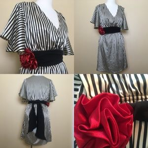 Judith March Striped Red Rose Sash Retro Dress M